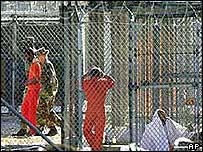 Prisoners at Guantanamo Bay in Cuba