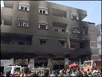 A burnt-out building in Jabaliya
