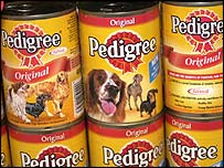 Cans of dog food