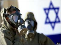 Israeli soldiers wear their gas masks and chemical suits during a training session