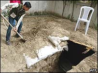 Baghdad resident prepares trench for protection in case of war