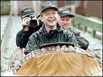 Hague in a baseball cap