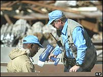 UN weapons inspectors at Al-Tuwaith, formerly a main site of Iraq's nuclear weapons programme