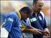 Jayasuriya is helped from the field