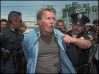 Being arrested at a United Farmworkers protest in 1987