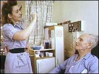 Elderly patient in hospital