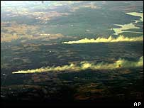 Texas fires started by falling shuttle debris