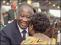 President Laurent Gbagbo and Ghana's first lady, Theresa Kufuor