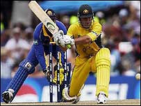 Ricky Ponting plays a sweep shot
