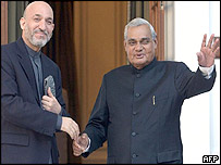 Afghan President Hamid Karzai with Indian Prime Minister Atal Behari Vajpayee