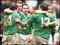 Ireland's players celebrate a superb win over France