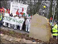 Protesters at RAF Leuchars in Scotland