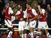 Arsenal players celebrate going ahead