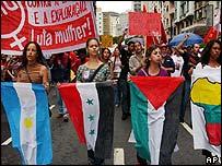 Protesters in Sao Paulo, Brazil