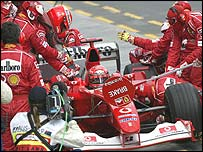 Michael Schumacher makes a pit stop during the Australian Grand Prix