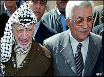 Mahmoud Abbas (right) and Yasser Arafat