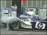 Juan Pablo Montoya makes the mistake that cost him his second Grand Prix victory