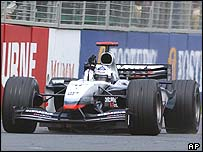 David Coulthard celebrates a superb tactical victory in the Australian Grand Prix