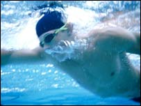 A man swimming