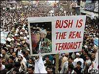 Rawalpindi protesters with Bin Laden placard