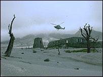 Helicopter in Montserrat