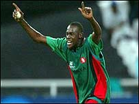 Obuya takes a wicket against India