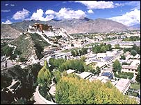 View of Lhasa, the capital of Tibet