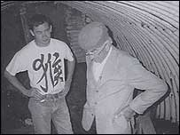 The late Herman Kindred visits his underground base 55 years later. Picture: Ann Warwicker