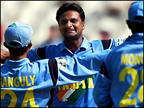 Javagal Srinath celebrates
