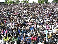 Crowds watch new president sworn in
