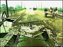A bridge damaged in the 1991 attack on Iraq