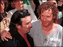 Vincent (left) and Michael Hickey on the day their convictions were overturned