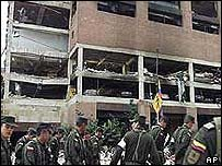 Exterior of the Club El Nogal after the blast