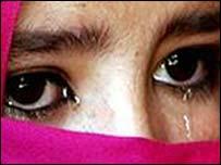 Pupil wearing veil