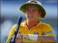 Brett Lee with the match ball