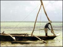 Fishing boat off Mombasa, Kenya