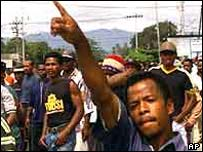 West Papuans protesting against Indonesia's military