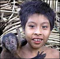 Awa child and monkey