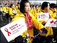Chinese girls take part in an Aids awareness parade (archive image)
