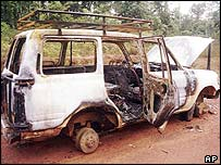 Burnt-out remains of the aid workers' vehicle