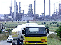 A Shell lorry leaving oil refinery in Essex
