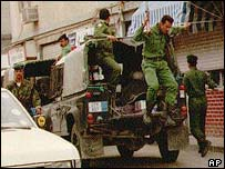 Riot police deploy to end protests in 1996