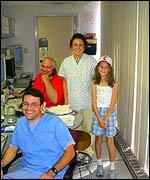 Rachel Williams with technicians at the sleep clinic