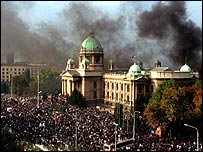 The Serbian parliament surrounded by demonstrators