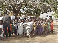 Schoolchildren at a satellite school