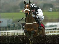 Moscow Flyer and jockey Barry Geraghty jump the last on the way to victory