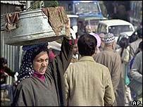 Kashmiris at bus stop