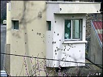 Bullet-riddled watchtower at Fresnes prison after March escape