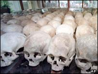 Human skulls at The Killing Fields in Choeung Ek, a reminder of Khmer Rouge atrocities