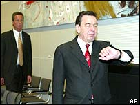 German Chancellor Gerhard Schroeder looks at his watch